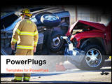 PowerPoint Template - car accident with emergency people investigating the scene