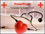 PowerPoint Template - Stethoscope pen and heart lying on a cardiogram
