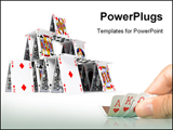 PowerPoint Template - The card house on a white background 3d image