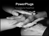 PowerPoint Template - Female massage therapist holding/massaging elderly woman hands.