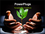 PowerPoint Template - Photo of green plant between male hands on a black background