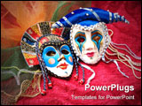 PowerPoint Template - Carnival masks and accessories on fabric background