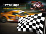 PowerPoint Template - Orange racing car passing the chequered / checkered flag with motion blur