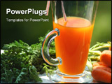 PowerPoint Template - fresh carrot juice in glass on garden table