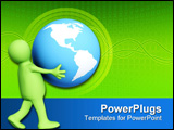 PowerPoint Template - The green 3d person carrying in hands globe