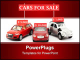 PowerPoint Template - Three toy cars and three signs with their prices in dollars at a simulated car sale