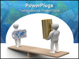 PowerPoint Template - People with cash and a credit card on weights