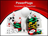 PowerPoint Template - 3d small people with counters for a roulette playing cards and bones.