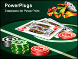 PowerPoint Template - Illustration of casino table with chips and playing cards