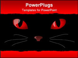 PowerPoint Template - Illustration of cats eyes glowing in the dark