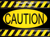 PowerPoint Template - Black and yellow striped hazard caution sign over white background.