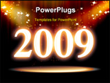 PowerPoint Template - Curtain background with spotlights sparkles and 2009