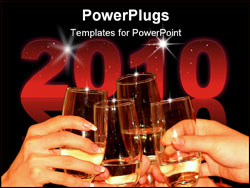 PowerPoint Template - four glasses full with champagne on a celebration