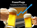 PowerPoint Template - beer toasting in front of monitor showing success