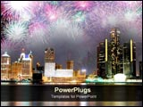 PowerPoint Template - City with fireworks in the night sky.