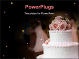 PowerPoint Template - A pink and white cake with roses on top and people in the background dancing