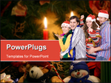 PowerPoint Template - Four friends having fun on a Christmas Party