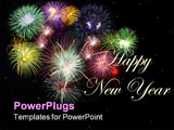 PowerPoint Template - Holidays celebration fireworks displaying against black sky