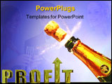 PowerPoint Template - champagne cork blasting away from the bottle. champagne is spraying around the cork.