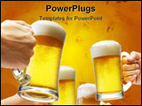PowerPoint Template - four hands holding beers making a toast