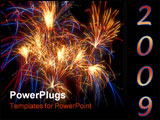 PowerPoint Template - closeup shot of several bursts of fireworks taken at firefall celebration in springfield,mo.
