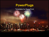 PowerPoint Template - The Mid-town Manhattan Skyline with firework illustration
