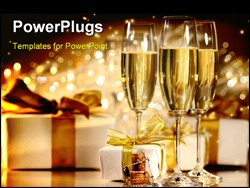 PowerPoint Template - Glasses of champagne with gold ribboned gifts