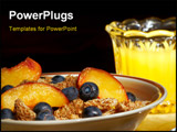 PowerPoint Template - A healthy breakfast of cereal with blueberries and nectarine slices and orange juice