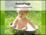 PowerPoint Template - baby is bathing in a tub