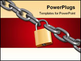 PowerPoint Template - 3d render of padlock and chain