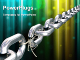 PowerPoint Template - Impressive looking chain where one of the links has been replaced by a shoe lace representing the proverb ?a chain is only as strong as its weakest link?.