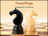 PowerPoint Template - two chess figures in duel. duel and fight concept.