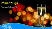 PowerPoint Template - two glasses of sparkling wine with copy space and abstract lights background