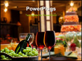 PowerPoint Template - table setting with wine glasses and a cake in the background