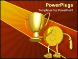 PowerPoint Template - Champion cup in hands of gold dollar