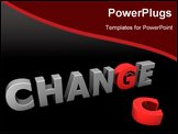PowerPoint Template - glossy grey word CHANGE with the red letter G and a laying red letter C