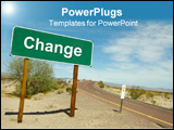 PowerPoint Template - Change Road Sign on desert road.