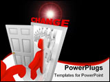 PowerPoint Template - A line of people step through the change doorway and become transformed