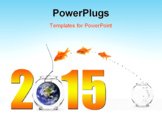 PowerPoint Template - three goldfishes jumping into new year with earth as bait.