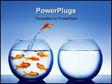 PowerPoint Template - gold fish jumping out of the fish bowl