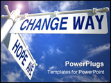 PowerPoint Template - street post with hope ave and change way signs