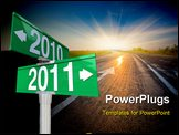 PowerPoint Template - A green two-way street sign pointing to the years 2010 and 2011