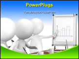 PowerPoint Template - 3D little human characters X3 during a Presentation on a Flip Chart. Business People series