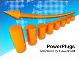 PowerPoint Template - metallic columns of diagram with arrow rising upwards
