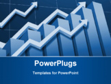 PowerPoint Template - Charts and upward directed arrows against blue background