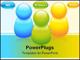 PowerPoint Template - vector illustration of colored talking buddies with bubbles