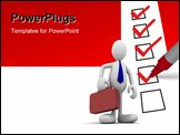 PowerPoint Template - red marker putting ticks on the white paper