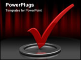 PowerPoint Template - 3d illustration of dark background with red checkmark in circle