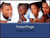 PowerPoint Template - Cheerful family having fun lying down on bed at home