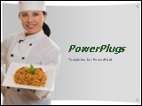 PowerPoint Template - Chef holding plate of pasta on a grey background